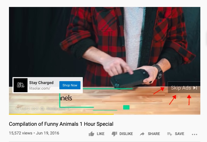 YouTube video ad