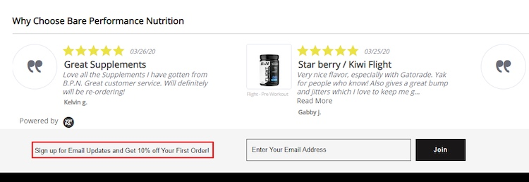 Bare Performance Nutrition email discount