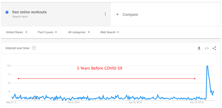 Free online workout Google trends 5 months before COVID-19