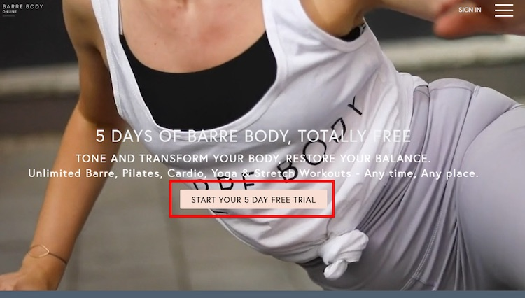 Barre Body Online 5-day trial