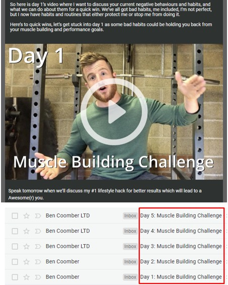 Ben Coomber email video series example