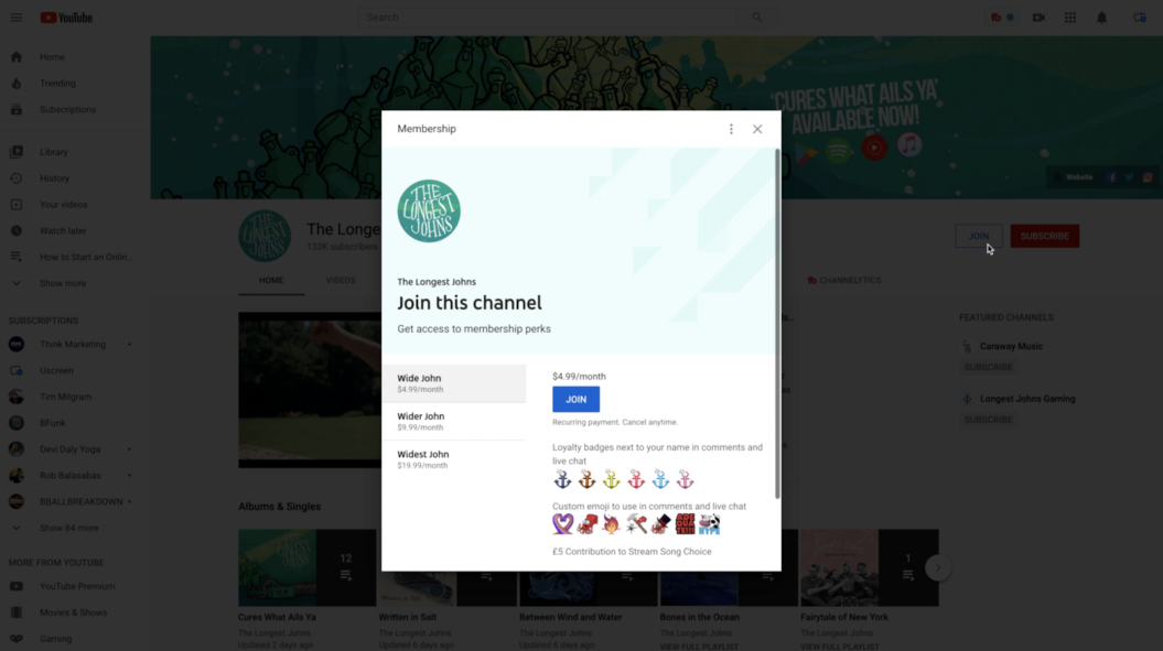 Youtube channel memberships the longest johns example