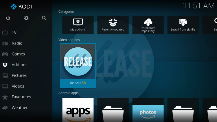 Return back to the home screen of Kodi and choose ReleaseBB within the Add-ons category