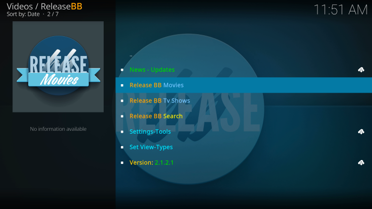 That's it! You have installed the ReleaseBB Kodi addon on your device