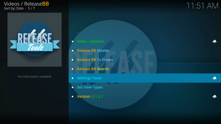 Launch the ReleaseBB Kodi Addon and select the Settings-Tools option.