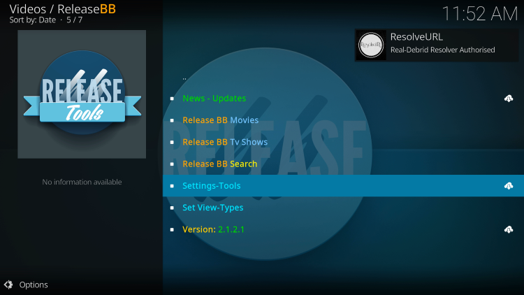 You should notice an OK message in the top right after integrating Real-Debrid within the ReleaseBB Kodi Addon.