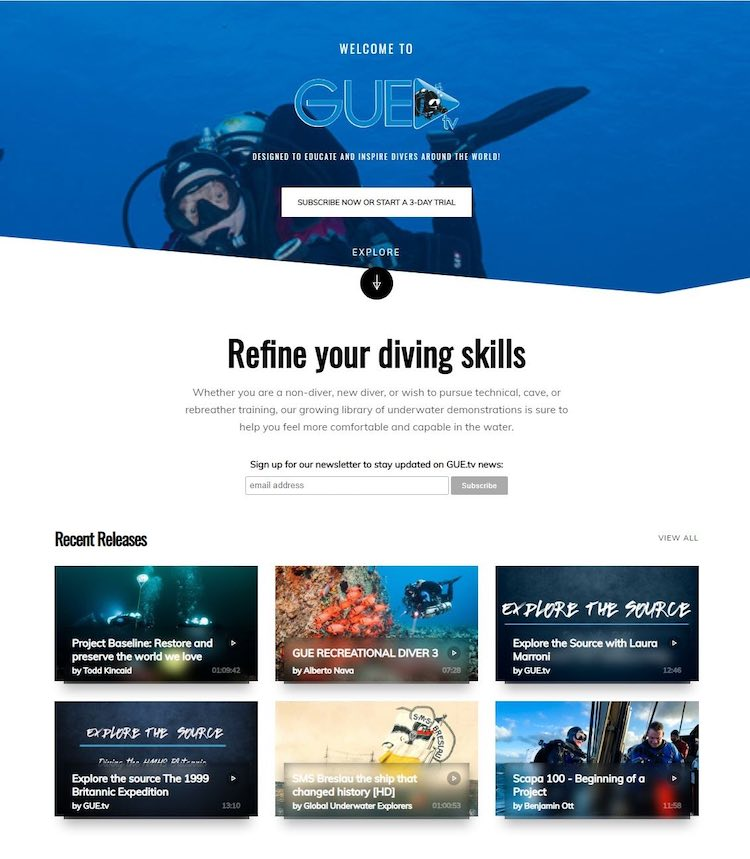 Gue.tv diving education streaming homepage
