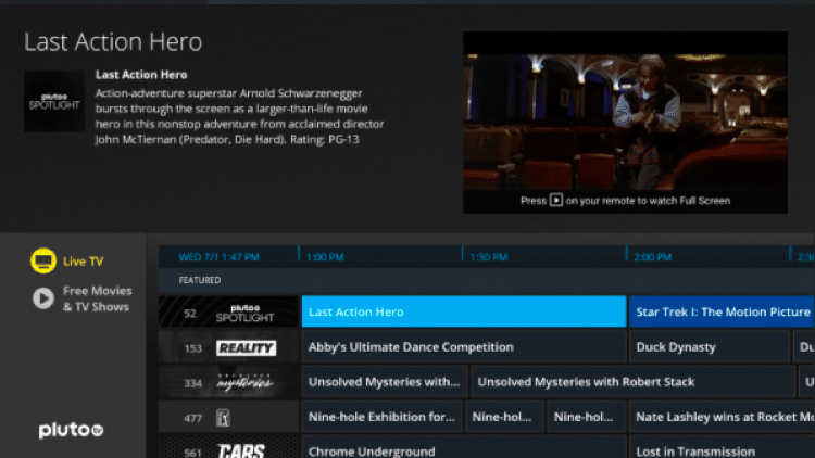 pluto tv live tv streaming sites