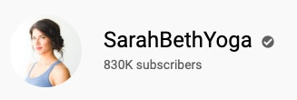 SarahBethYoga YouTube channel subscriber count