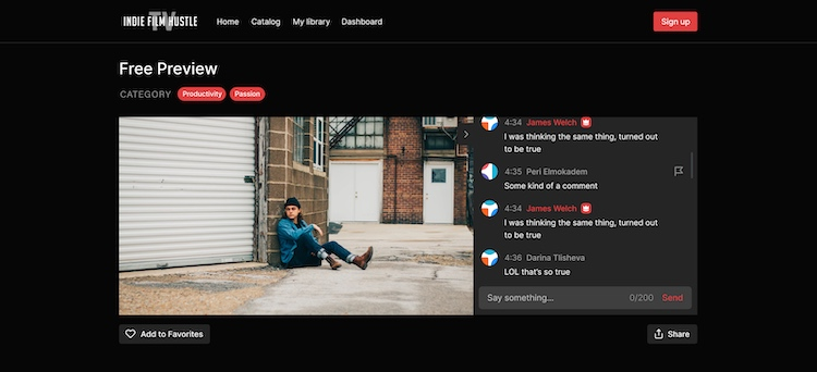 NulledMedia live chat feature on indie film hustle website